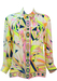 Emilio Pucci Silk Geometric Print Blouse in Pink, Yellow & Blue - M
