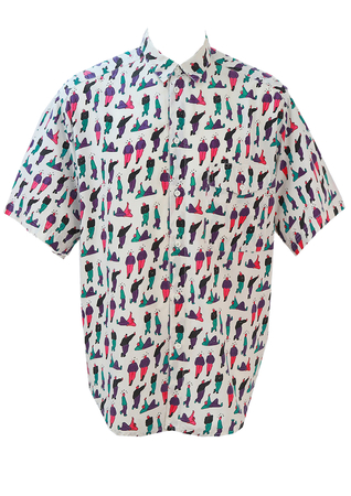 Vintage 1990's Short Sleeved Shirt with Standing, Leaning and Lying Men! - M/L