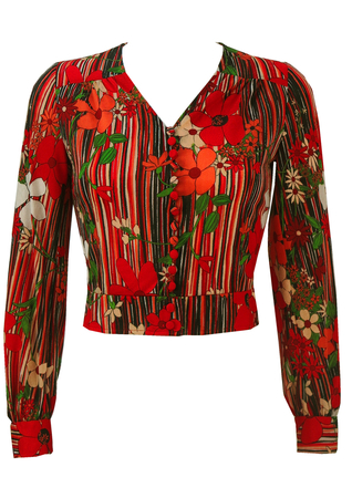 Vintage 1970's Cropped Floral Print Top in Red, Orange & White - S