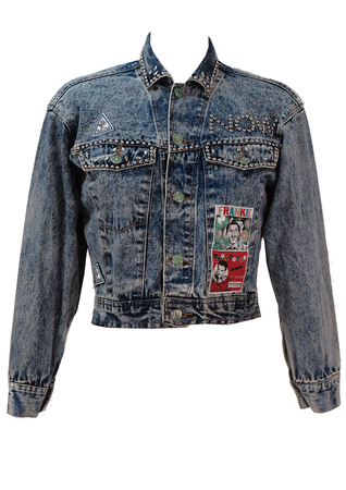 Cropped Stonewashed Blue Denim Jacket with Silver Stud Detailing - S