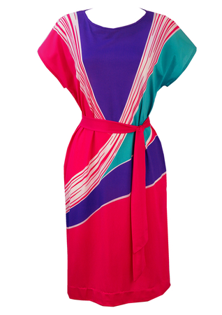 Vintage 1980's Midi Dress with Asymmetric Pink, Purple & Turquoise Pattern - M