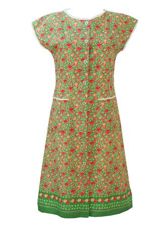 Floral Ditsy Print Midi Dress with Scallop Edged White Trim - L