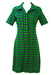 Vintage 1970's Green, Purple & Blue Midi Shirt Dress with Poodle Pattern - M
