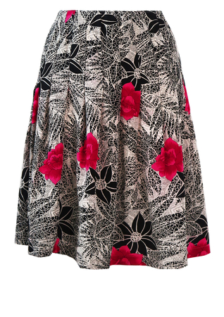 Pleated Above the Knee Skirt with Pink & Black Floral Pattern - S/M