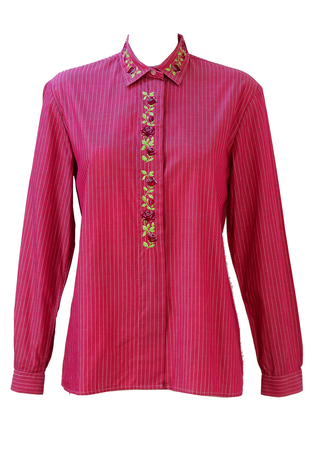 Pink and White Pinstripe Shirt with Embroidered Rose Detailing - M/L