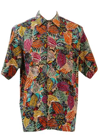 Short Sleeved Shirt with Abstract Floral Batik Print - L/XL