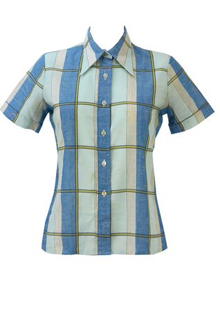 Vintage 1970's Short Sleeved Check Shirt in Blue, Yellow & White - M