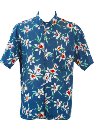 Blue Hawaiian Shirt with White, Red & Green Floral Print - XL/XXL