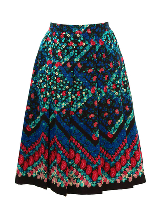 Vibrant Floral & Paisley Pleated A-Line Skirt - S