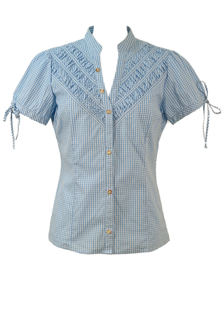 Blue & White Tyrolean Gingham Check Blouse with Ruche Detailing - M