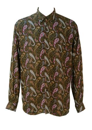Vintage 1990's Shirt with Blue, Purple & Beige Paisley Print - M/L