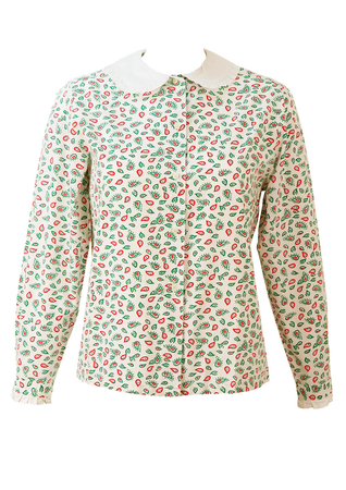 White Blouse with Green & Red Paisley Pattern & Peter Pan Collar - M