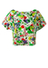 Short Sleeved Cropped Slash Neck Top with Abstract Fruit & Flowers Print - M/L