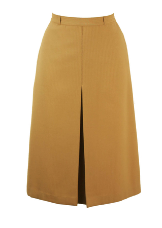 Camel Colour A-Line Skirt with Pinstripe Weave and Pleat Detail - S