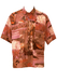 Short Sleeved Orange & Pink Photographic Beach Print Shirt - L/XL
