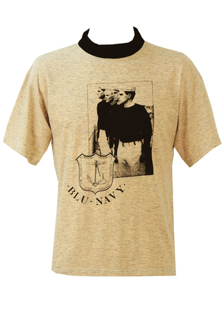 Mottled Peach & Grey T-Shirt with Photographic Navy themed Print - M/L