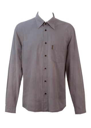 Armani Jeans Blue & Grey Textured Check Shirt - L/XL