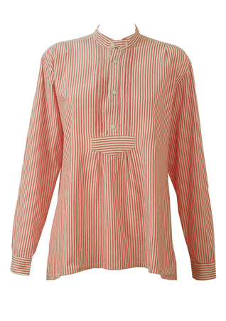 Red and White Striped Tyrolean Smock-Style Blouse - L/XL