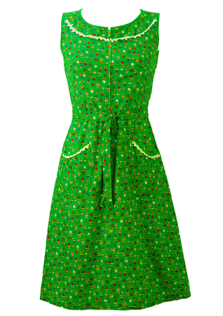 Vintage 1970's Floral Ditsy Print Green Knee Length Dress - S
