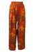 High Waisted, Loose Fit Trousers with Orange, Ochre & Brown Floral Pattern - S/M