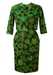 Vintage 1950's Two Piece Dress with Green & Brown Abstract Floral Print - XS/S