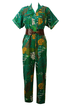 Safari Style Jumpsuit with Green, Yellow & Olive Tropical Camouflage Print - M