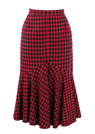 Pink and Black Check Fishtail Skirt - S