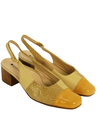 Ochre Leather Slingbacks with Patent Leather & Faux Snakeskin Suede Design - UK Size 5