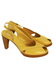 Camel Coloured Leather Slingbacks with Peep Toe and White Stitch Detail - UK Size 4