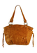 Tan Leather Slouch Design Handbag with Tassel Edged Side Pockets