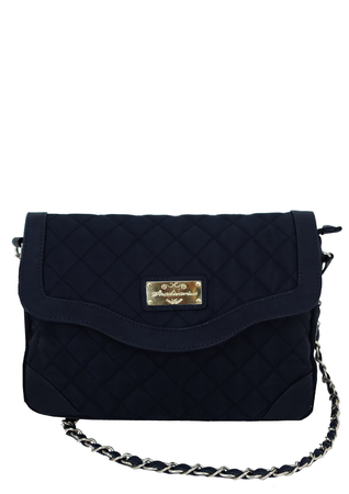 Blue Quilted Cross Body Shoulder Bag with Silver Chain Strap