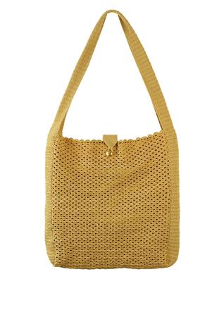Beige Crochet Knit Shopper Shoulder Bag with Warm Yellow Lining