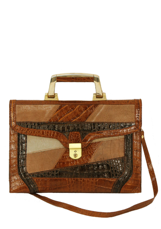 Leather & Suede Brown, Tan & Beige Patterned Briefcase Handbag with Strap & Gold Trim