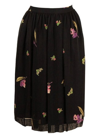 Floaty Black Midi Skirt with Stripe and Floral Design - S