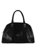 Black Leather Crocodile Effect Handbag with Hand Motif Zip Fob