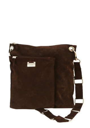 Entra Brown Suede Cross Body Shoulder Bag with 60's Style Silver Looped Strap