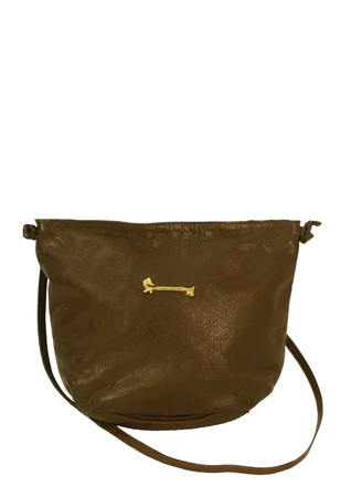 Olive Green Leather Shoulder Cross Body Bag with Gold Sausage Dog Detail!