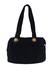 Navy Blue Suede Shoulder Bag with Gold & Snakeskin Trim