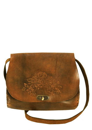 Brown Leather Shoulder Strap Saddle Bag with Engraved Floral Design