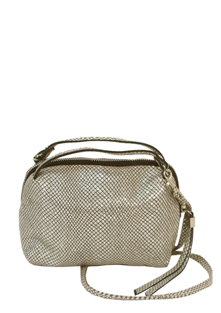 Leather Silver & Taupe Snakeskin Style Cross Body Shoulder Bag