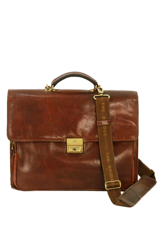 The Bridge Brown Leather Briefcase with Working Lock & Key and Card of Authenticity