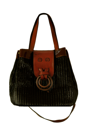 Black Weave Bucket Bag with Tan Trim Detail & Detachable Shoulder Strap