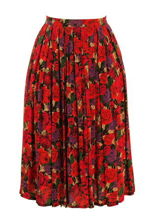 Multi Colour Rose Print Pleated Midi Skirt - S