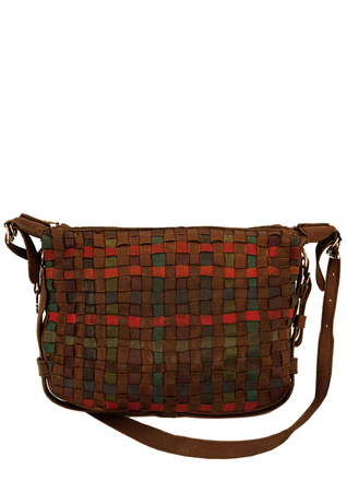 Piero Guidi Leather Shoulder Bag with Multi Colour Weave Detail