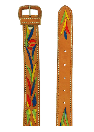 Tan Brown Leather Belt with Vibrant Multicoloured Embroidery