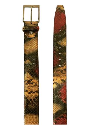 Python Snakeskin Belt in Ochre, Red & Black Colourway