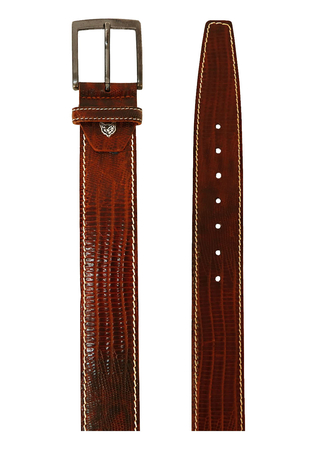 Tan Brown Patent Leather Belt with Snakeskin Style Design & White Stitching Detail