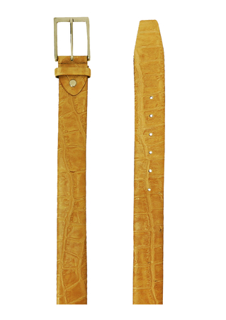 Sand Coloured Leather Belt with a Faux Crocodile Skin Design