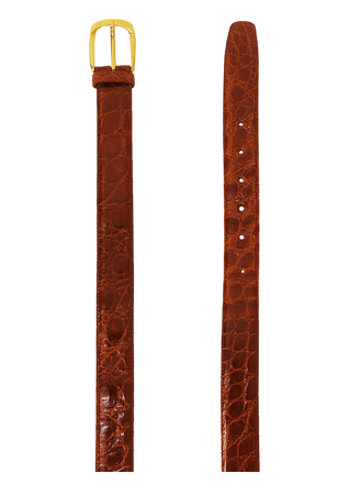 Patent Leather Tan Coloured Belt with a Faux Crocodile Design