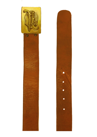 Tan Brown Leather Belt with Western Pistols Brass Buckle Design